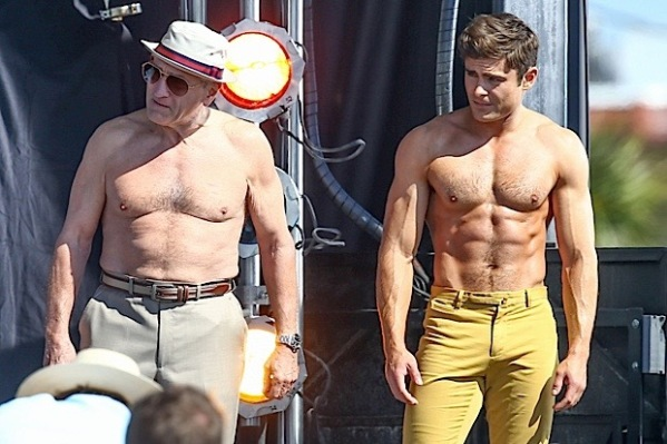 "Zac Efron & Robert De Niro Go Shirtless For Flex Off On Set Of ""Dirty Grandpa"""